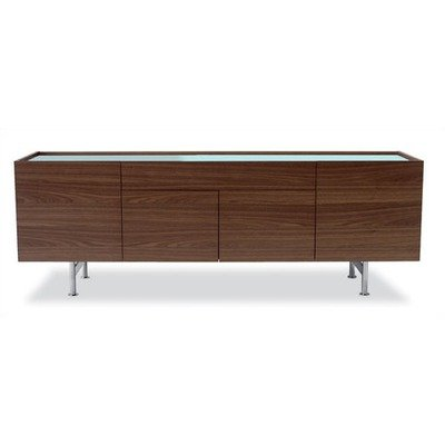 Horizon Buffet Base/Handles: Frosted Black Glass, Frame: Oak Veneered Wenge (Calligaris Dining Room Cabinet)