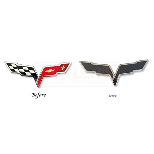 Eckler's Premier Quality Products 25-348373 Corvette Emblem Decal Overlay, Front Or Rear, Carbon (Carbon Fiber Corvette Parts)