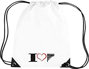 Camiseta stown Premium gymsac Música I Love Zampoña Flute, blanco