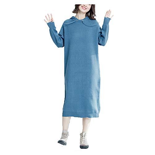 A Gonna Ampio Shopping Lunghe Easy Go Nuovo Autunno Blue Maniche E Sottile Inverno Allentato Maglione wvqOa