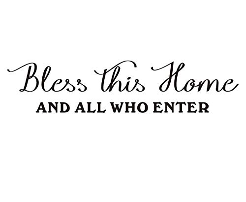 Bless This Home Wall Decal, Vinly Lettering Sticker, Entrance Decor Family Welcome Wall Decal Enter Front Door Decor, Home Wall Decorations,Black