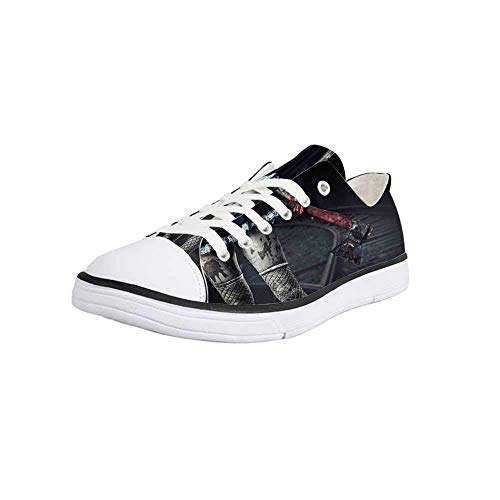 Canvas Sneaker Low Top Shoes,Horror House Decor,Dark Underground Tunnel in Minery Spooky Mystery Cave Ground Surface Photo Women 9/Man 6.5