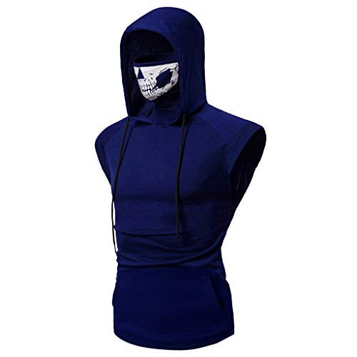 Rhinestone Skull Sweatshirt - Realdo Mens Hoodie, Mens Skull Mask Pullover Casual Solid Zip Long Sleeve Hooded Sweatshirt Tops