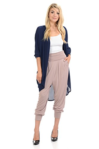 Womens Knit Cuff Pant - iconic luxe Women's Banded Waist Harem Jogger Pants with Pockets Large Taupe