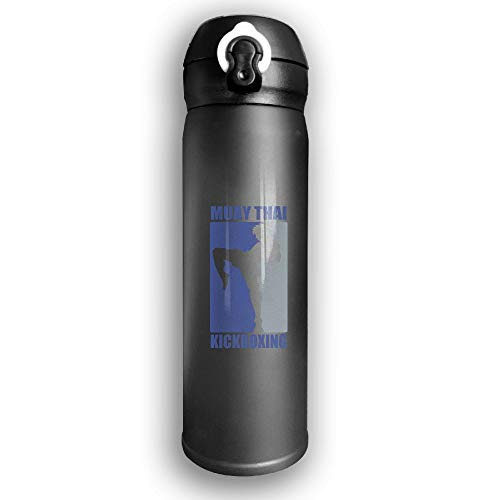 Adhone Designed Muay Thai Logo Stainless Water Bottle, Sports Drinking Bottle/Travel Coffee Mug, Leak-Proof Vaccum Cup, with Bounce Cover,Black