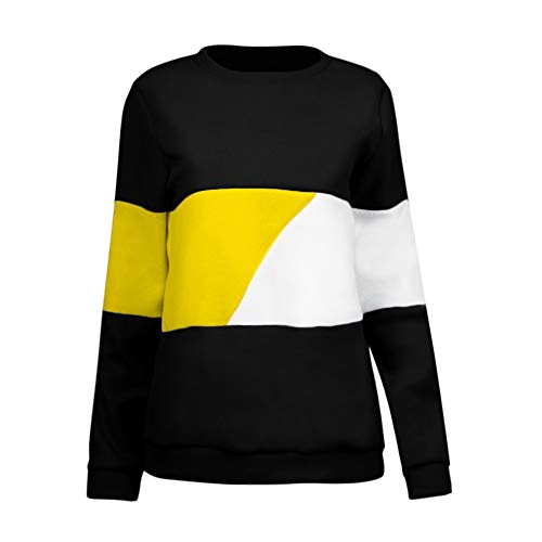 Neck Femme Color O Blouse Tops Block Tonsee Casual Jaune Sweatshirt Manches Chemises Longues 8TnxqZ5w4