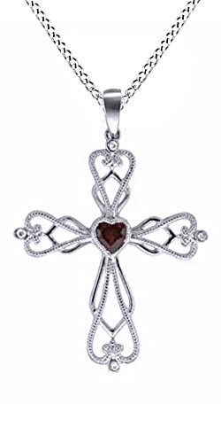 Jewel Zone US Heart Shape Red Simulated Ruby & White Natural Diamond Filigree Cross Pendant in 925 Sterling - Heart Cross Ruby