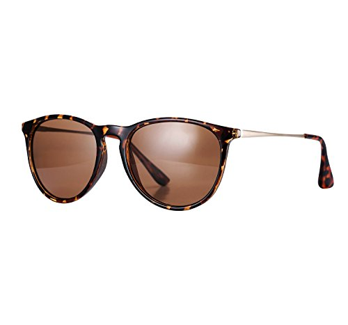 YANQIUYU 4171 Women's Erika cat eye round Polarized Sunglasses,UV400 (Leopard, - Glasses Erika