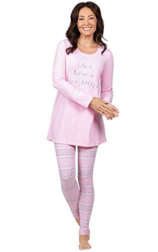 Addison Meadow Comfy PJs Women - Women Pajamas Set, Pink Fair Isle, S, 4-6