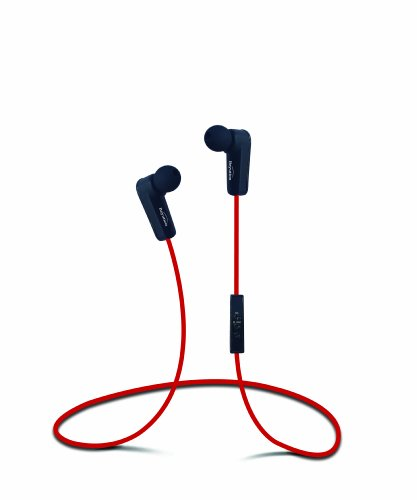 New Red Sports Stereo Wireless Bluetooth Stereo Earbuds Headset Headphone with In-line Microphone and Control, Built in Li-battery, Noise Cancellation Technology, Listen Music or Telephone Clrear