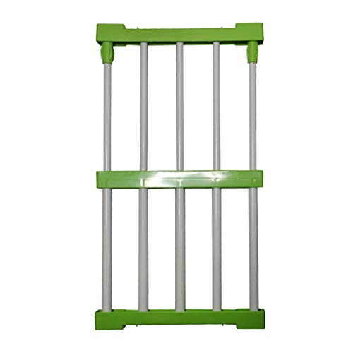 MOPOLIS Wardrobe Closet Tidy Storage Rack Layered Partition Board Commodity Shelf Pick (Color - Green 38-55cm) - Frame Fabric Oak Color