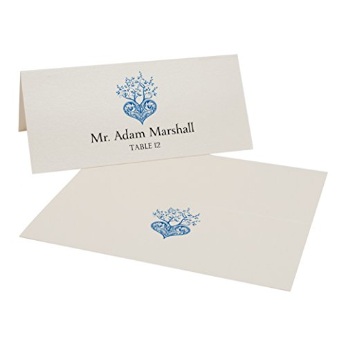 Tree of Life Heart Place Cards, Champagne, Royal Blue, Set of (Royal Champagne Set)