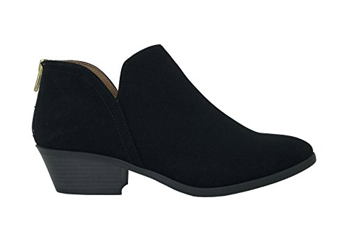 City Classified Womens Ankle Bootie Side V Cut Low Chunky Stacked Heel Black Nu