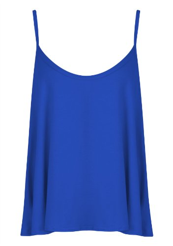 Womens Ladies Plain Plus Size Sleeveless Swing Vest Strap Cami Camisole Tank Top - ROYAL BLUE - UK 20/22(XXL) - (95% Polyester and 5% Elastane)