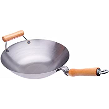 16 Inches Carbon Steel Wok with Helper Handle (Flat Bottom), 14 Gauge Thickness, USA Made