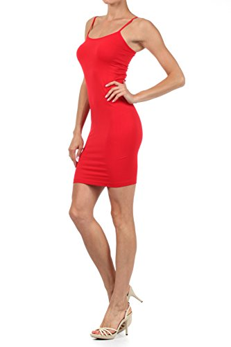 Size One Size Slip Seamless Long and Red Dress Plus Nylon Women's Cami ICONOFLASH q8vSwP
