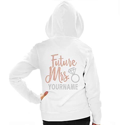 - Rose Gold Future Mrs. with Custom Last Name Hoodie - Bride to Be Zip Up - Unisex X-Small White
