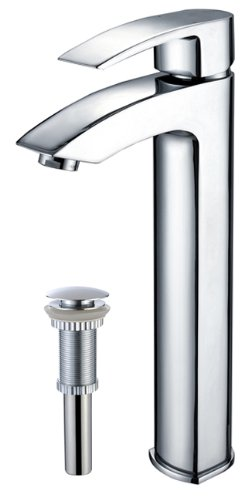 Kraus FVS-1810-PU-10CH Visio Single Lever Vessel Bathroom Faucet with Matching Pop Up Drain