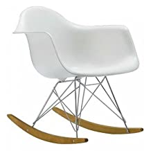 Eames Style Molded Modern Plastic Armchair-Rocking Mid Century Style Lounge Cradle Arm Chair-Contemporary Accent Retro Rocker Chrome Steel Eiffel Base-Ash Wood Rockers-Nursery Living Room-Matte Finish in White