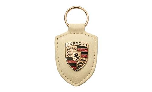 Genuine OEM Porsche White Leather Crest Key Chain ()