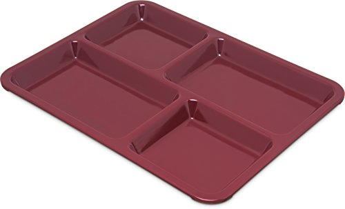 (Carlisle KL44485 Right-Hand Heavy Weight 4-Compartment Café Tray, Melamine, Dark Cranberry)