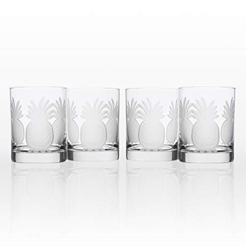 Rolf Glass 4 Piece Pineapple Double Old Fashioned Glass Set, Clear - Old Four Double Fashioneds