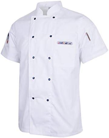 Milageto Giacca Da Lavoro Da Uomo A Maniche Corte Uniforme Da Cuoco Cappotto Traspirante Per Hotel Taglia 5