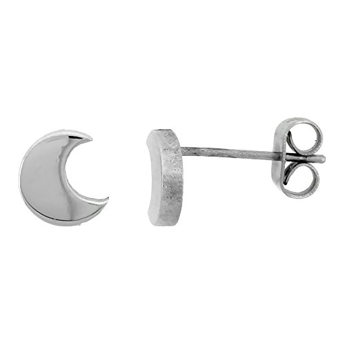 Small Stainless Steel Crescent Moon Stud Earrings 1/4 (0.25 Post Earrings)