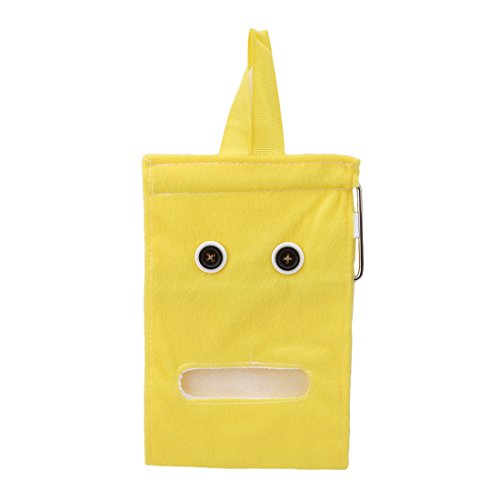 Hanging Tissue Holder Toilet (Hi-Unique Cartoon Hanging Tissue Holder Paper Holder Dispenser Cover Soft Cloth Toilet Paper Container Box,Yellow)