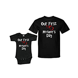 Our First Mothers Day Matching Baby Bodysuit and Adult Tshirt