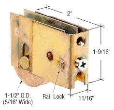 "CRL 1-1/2"" Steel Ball Bearing Sliding Glass Door Roller with 11/16"" Wide x 1-9/16"" High Housing - Package"
