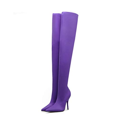 (JOYBI Women Stiletto Heel Over The Knee Boots Sexy Pointed Toe Stretch Wedding Party Dress Thigh High Boot)