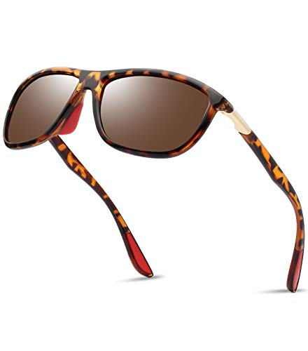 Polarized TR90 Sports Sunglasses for Men - Kanastal Ultra Lightweight Unbreakable Sun Glasses for Women KU1907(Leopard Frame Tea Lens) ()