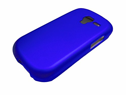 For Samsung Galaxy Exhibit T599 Hard Phone Cover Case + Happy Face Phone Dust Plug (Hard Blue)
