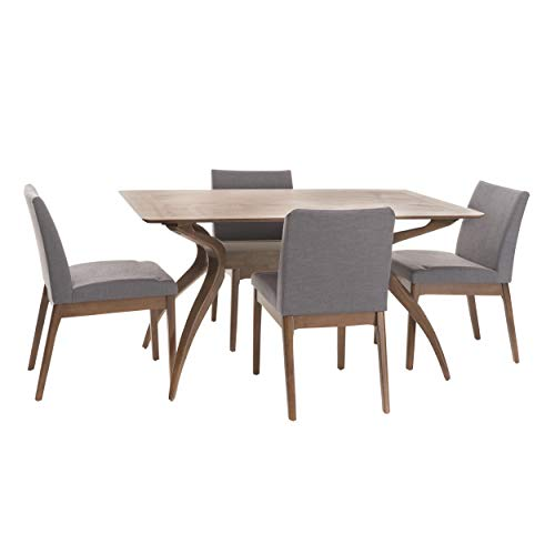 Katherine Dark Grey Fabric/Natural Walnut Finish Curved Leg Rectangular 5 Piece Mid Century Modern Dining Set by GDF Studio (Image #1)
