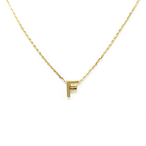 (Me Plus Petite Initial Letter Alphabet Pendant Charm Gold Dipped Necklace Gold Silver Rosegold (23 Letters) (F - Gold))