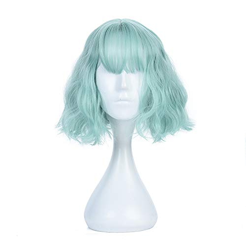 Green Wig Short Instant Noodles Curly Fluffy Hair Women Fresh Lovely Lady Girl Natural Soft Resistant High-temperature for Cosplay Party Daily Prom -