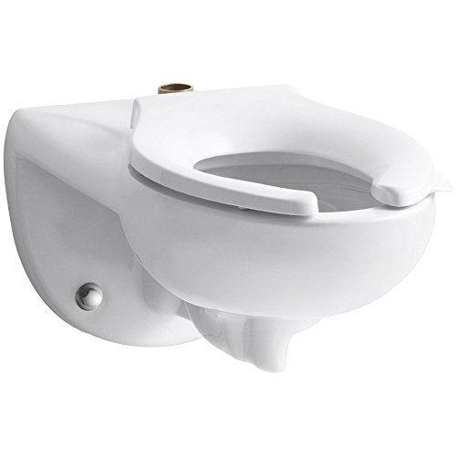 Kohler Company K-4325-BA-0 K-4325-0 Kohler Kingston Elongated Wall-Mounted Toilet Bowl with Top Inlet, 1.6 Or 1.28 Gpf, White-115547, White ()