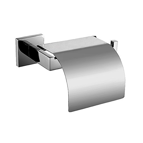 Aimeer Luxury 304 Stainless Steel Chrome Finished Toilet Roll Paper Holder with Cover Wall Mounted Quadrate Mirror Polished Bathroom Accessories
