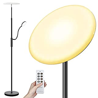 Arzerlize Floor Lamp, 30W/2500 Lumens LED Modern Torchiere with Reading Light, Height Adjustable 3 Color Temperatures Super Bright Floor Lamps for Living Room, Bedrooms, Office Standing Lamp
