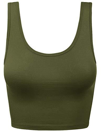 Women's Cotton Scoop Neck Racerback Crop Top Sleeveless Tops ArmyGreen M