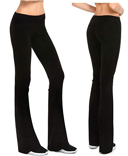 Fold Leg - Gilbins Womens Fold-Over Waistband Stretchy Cotton Blend Yoga Pants with A Wide Flare Leg 2 Pack