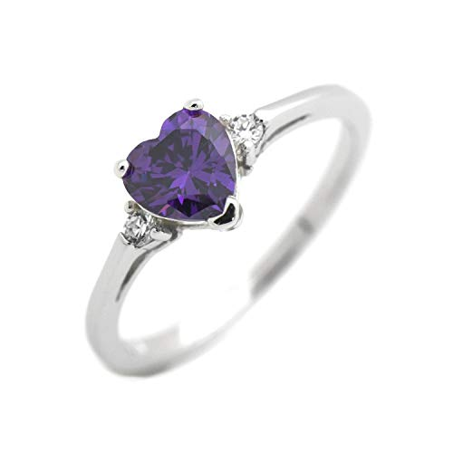 (Wedding Season Import Cute Heart Simulated Birthstone Cubic Zirconia Sterling Silver Birthday Gift Ring Size 4 - Amethyst )