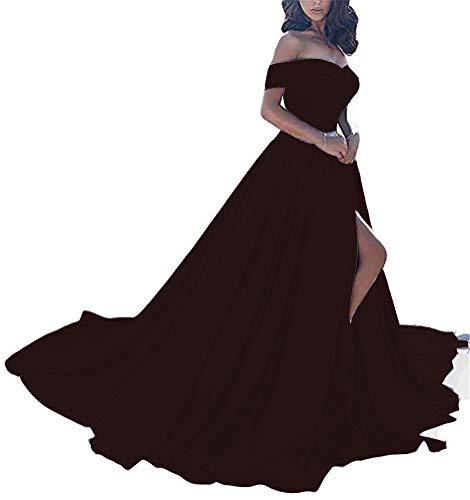 (Homdor Split Off Shoulder Prom Evening Dress for Women A-Line Satin Formal Gown Burgundy Size)