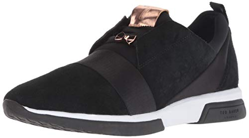 Ted Baker Women's Cepa Sneaker, Black Suede/Satin, 5.5 Medium US ()