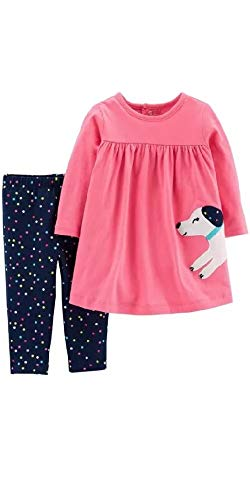Carter's Baby Girls 2-Piece Long Sleeve Dress with Legging Set (12 Months, Pink/Navy, Dog)