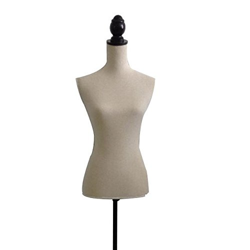 The Urban Port Beige Female Adjustable Mannequin Torso with Wooden Tripod Stand C208-123030