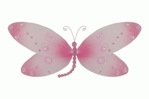 - The Butterfly Grove Skylar Dragonfly Decoration 3D Hanging Mesh Organza Nylon Decor, Pink Carnation, , 17