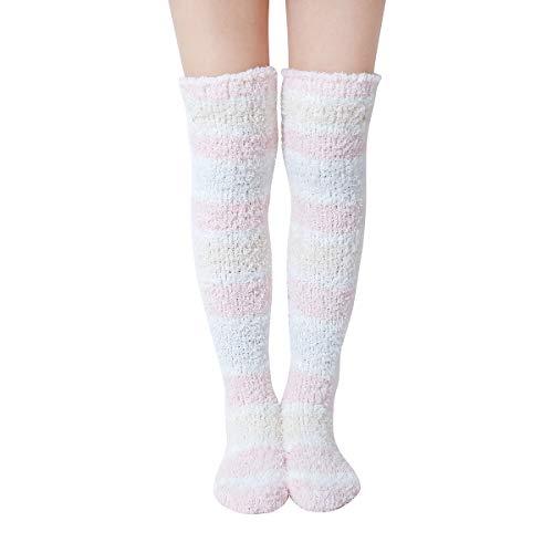 Skola Super Soft Warm Fuzzy over the Knee High Long Winter Cozy Slipper Socks 1Pair-Value Pack (Pink/white/milk yellow stripe one pair)