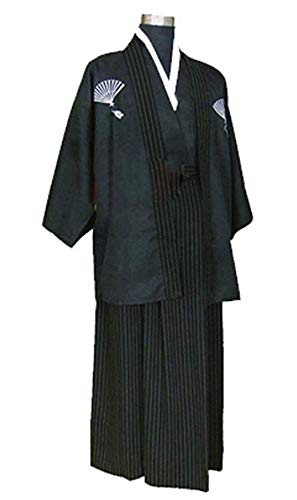 CRB Mens Boys Japanese Traditional Samurai Kimono Warrior Robe Outfit Costume (Child's Height 140cm, Black) -